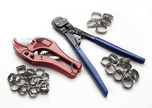 Pex KIT pipe tube crimper crimping tool plumbing cutter +35 Rings cinch clamps  $39.99