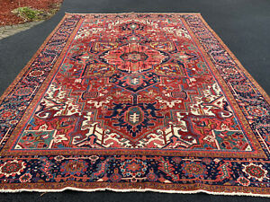 ANTIQUE HAND WOVEN P....N SERAPI RUG 9x12FT FROM CIRCA 1900