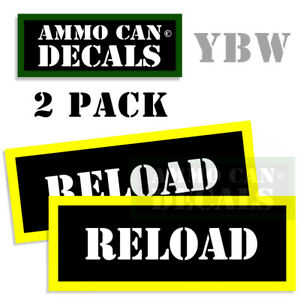 RELOAD Ammo Label Decals Box Stickers reloading decals  2 Pack BLYW 3x1.15inches
