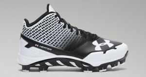 NEW BOYS UNDER ARMOUR UA SPINE HEATER MID TPU JR BASEBALL CLEATS SHOES 1.5Y BLK
