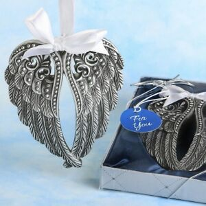 75 Angel Themed Ornament Silver Angle Wing Wedding Bridal Shower Party Favors $189.44