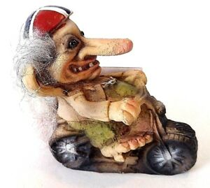 NyForm Troll on Motorcycle 3.75 tall NEW with Tag Norwegian Flag Helmet #154
