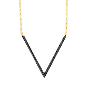 14K Yellow Gold Black Diamond V Shape Pendant Necklace 0.12CT