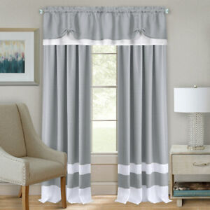 Gray White Modern Two Tone Window Curtains Panel Tiers Kitchen or Home $15.49