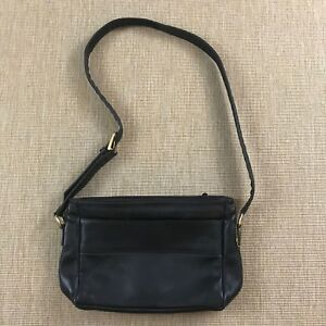 SAS Black Leather Bag Purse Crossbody Zipper Closures Adjustable Strap NWOT
