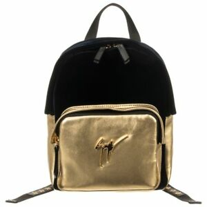 $995 NWOT Giuseppe Zanotti Gold Velvet Navy Blue Leather Logo Backpack Purse Bag