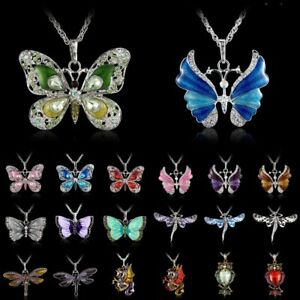 102050pcs Wholesale Angel Dagonfly Butterfly Crystal Pendants Chain Necklace