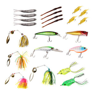 22pcs Fishing Lure Bait Set Kit for Trout Bass Salmon with Free Tackle Box
