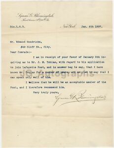 Lyman G. Bloomingdale - Founder of Bloomingdales - Autographed 1897 Letter
