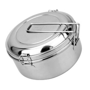 Stainless Steel Round Lunch Bags Lunch Box Food Bento Container Mess Tin