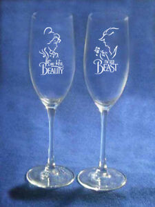 Beauty and Beast Wedding Glasses Flutes  Personalized   NEW Belle beast