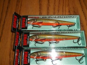RAPALA ORIGINAL FLOATING #11's= 3 LIVE CHAR COLORED FISHING LURES-F11