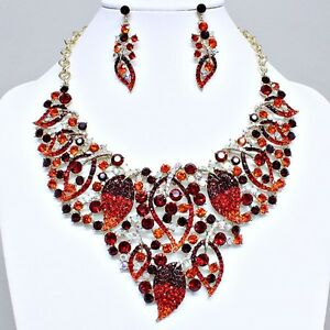 GOLD  RED   CRYSTAL  RHINESTONE   NECkLACE  AND  EARRING SET S351Z  10