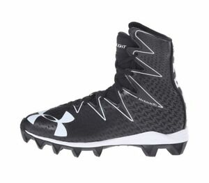 NEW UNDER ARMOUR BOYS UA HIGHLIGHT RM JR FOOTBALL SHOES SIZE 4 4Y BLACK WHITE
