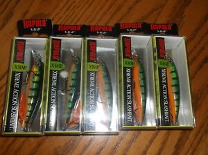 RAPALA X-RAP-08's--lot of 5 PERCH COLORED-FISHING LURES-XR08