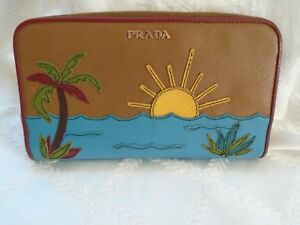 Authentic PRADA Brown Blue Leather Beach Scene Zip-Around Wallet