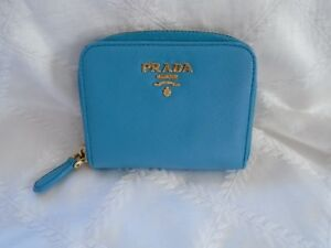 SUPER CUTE!! Authentic PRADA Blue Leather Coin Purse Small Zip-Around Wallet
