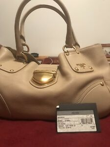 Authentic PRADA Vitello Daino Leather Beige Bag