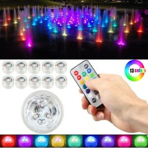 10pcs LED RGB Submersible Light Party Vase Lamp With Remote Control Waterproof