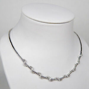Diamond Entwined Wrap Flexible Choker Necklace 18 kt White Gold 17