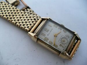 WOW! VTG BULOVA DIRECTOR 21j RECTANGLE CASE~AWESOME BRACELET WRISTWATCH~1946