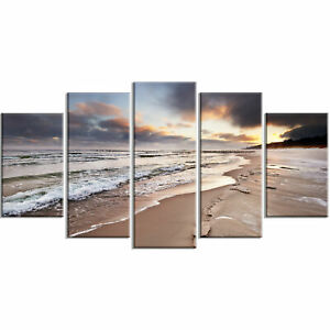 'Shore of Baltic Sea during winter' 5 Piece Wall Art on Wrapped Canvas Set