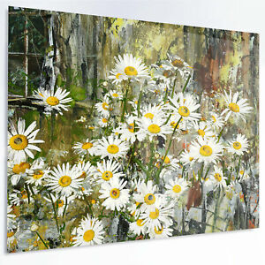 Design Art 'Daisies Flowers Under the Window' Graphic Art Print on Metal