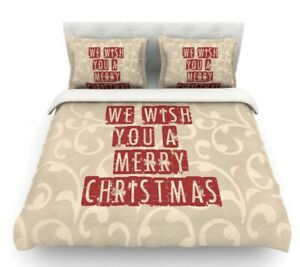 We Wish You a Merry Christmas by Sylvia Cook Holiday Featherweight Duvet Cover
