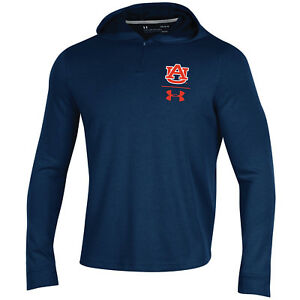 Auburn Tigers Under Armour Navy 14 Zip Up Loose Sideline Waffle Hoodie Pullover