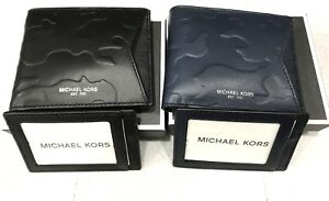 Michael Kors Camden Mens Camo Embossed Leather Billfold ID Cardcase Wallet $128