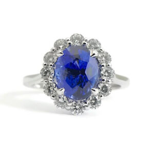 Sapphire and Diamond Halo Cocktail Ring in 14K White Gold 3.2 CTW 3.83 Grams