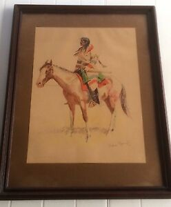 quot;A Breedquot; Chromolithograph Of Frederic Remington 1901 From A Bunch Of Buckskins $500.00