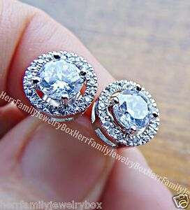 .925 Sterling Silver Round cut Halo Diamond post stud jacket Bridal Earrings