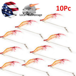 10 Shrimp Soft LureFishing Artificial Baits With Hook Swivels Fishing-Lures