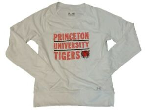 Princeton Tigers Under Armour Semi-Fitted WOMENS White LS Pullover Sweatshirt(M)