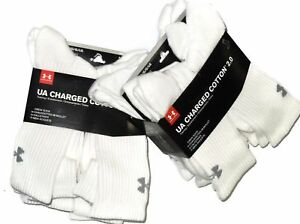 12 pair Under Armour men's white Charged Cotton Crew Socks XL XLarge