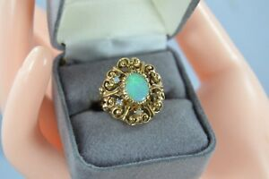 Vintage 14k Yellow Gold OPAL Cocktail Ring size 6.25
