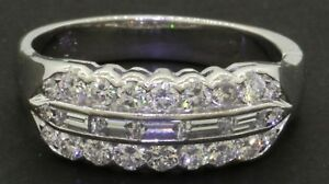 Vintage 1950s Platinum .78CT VS1F diamond cluster cocktail ring size 9.5