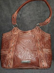 AMERICAN WEST Women's New Genuine Leather Studded ZipTop Tote Shoulder Bag Purse