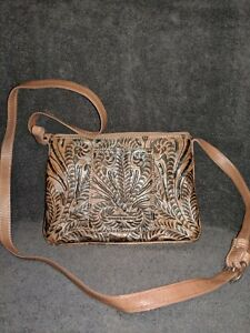 American West Genuine Leather Crossbody Bag Hand Tooled wDual Zipper Pockets