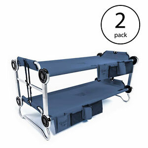 Disc-O-Bed Youth Benchable Camping Cot with Organizers Navy Blue (2 Pack)