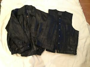 MEN'S GENUINE BLACK LEATHER MOTORCYCLE JACKET AND VEST SIZE XL