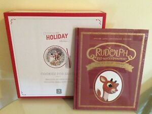 Pottery Barn kid 50TH set Cookie Santa Plate +cup+Rudolph Christmas book holiday