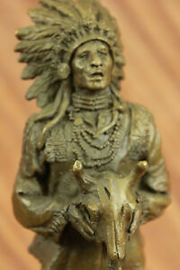 Rare Indian Native American Art Chief Ox Head Bronze Marble Statue Sculpture Art