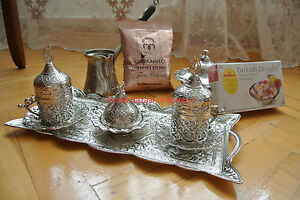 16 Pc Turkish Greek Arabic Coffee Serving Set Pot Cup Cezve Gawa Tray Delight -B