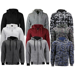 Men#x27;s Athletic Warm Soft Sherpa Lined Fleece Zip Up Sweater Jacket Hoodie