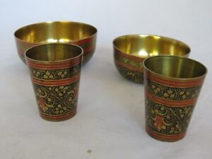 2 BRASS BOWLS & 2 SMALL BRASS TUMBLERS DECORATED OUTSIDE  - PAGAN WITCH NEW AGE