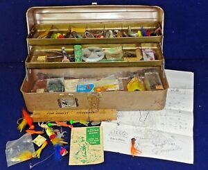 VTG Fishing Supplies Estate Lot Metal 2 Tier Tray Tackle Box Lures Hook Spoons +