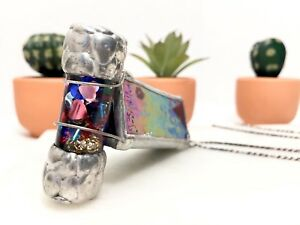Vtg Signed Joanne Jacobs Sterling Silver Dichroic Glass Kaleidoscope Necklace