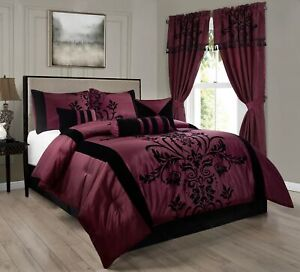 Chezmoi Collection 7pc Burgundy Black Flocked Floral Comforter or Curtain Set
